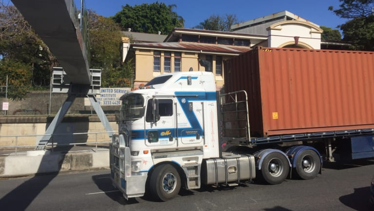 The truck driver reversed back up Countess Street and turned back up the slip road.