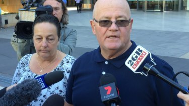 Wayne Greenhalgh, with wife Bronwen Greenhalgh, outside court.
