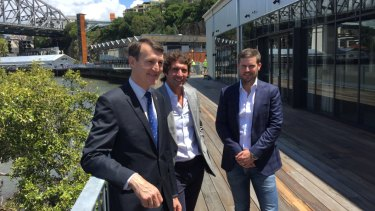 Lord Mayor Graham Quirk talks with Howard Smith Wharves chief executive Luke Fraser (right) and director Adam Flaskas( centre).