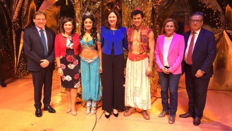 The announcement was held on the Aladdin stage. Left to right: Queensland Performing Arts Trust chairman Professor Peter Coaldrake, Arts Minister Leeanne Enoch,Aladdin's Princess Jasmine (Shubshri Kandiah), PremierAnnastacia Palaszczuk,Aladdin (Ainsley Melham), Deputy Premier Jackie Trad, QPAC chief executive John Kotzas.