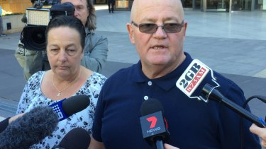 Wayne Greenhalgh, with wife Bronwen Greenhalgh, outside court on Tuesday.