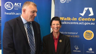 New ACT Health director-general Michael De'Ath (left) with new Canberra Hospital and Health Services chief executive Janet Anderson at the opening of a new walk-in health centre in Gungahlin on Monday.