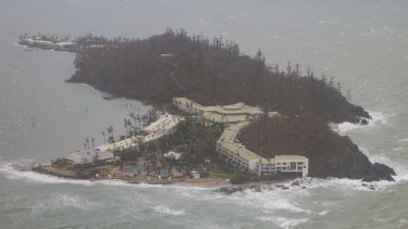 View of Daydream Island from an RAAF KA350 King Air tactical air mobility aircraft in the aftermath of Cyclone Debbie.