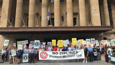 The protest held in King George Square against the zipline project saw about 150 people attend.