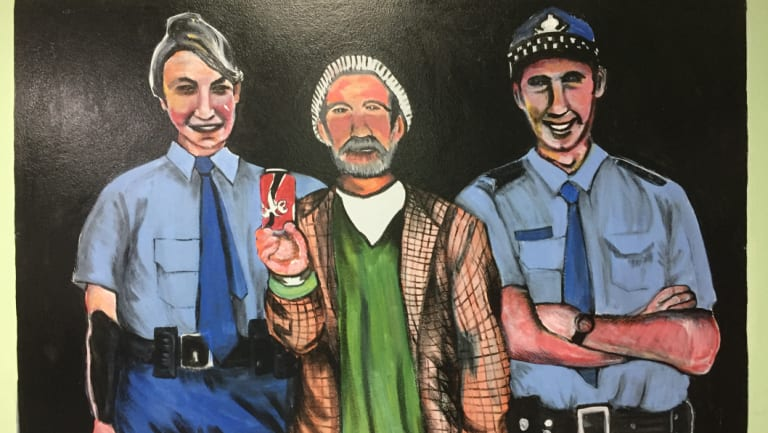 Vincent Greentree picture in reception at Woolloomooloo police station.