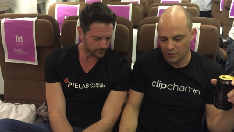 Brisbane video builder company Clipchamp chief executive Alex Dreiling (right) with PieLab venture company's Shaun Bassett.