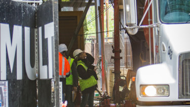 WorkSafe inspect the site on Saturday's concrete incident.