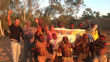 Thomas Mayor with locals at the Yule River Bush meeting in the Pilbara.