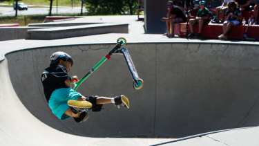 Eight-year-old Kye Janke impressed at the Woden Skate Park.