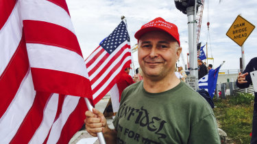 A Trump supporter at a rally in Florida in January.