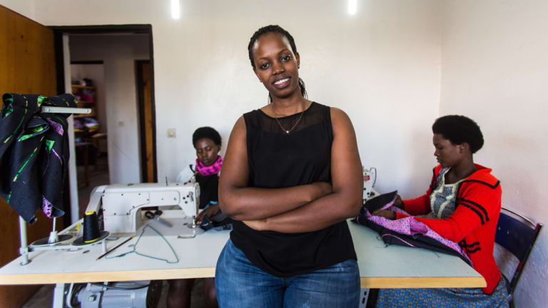 Priscilla Ruzibuka, founder of Ki-Pepeo children's clothing.