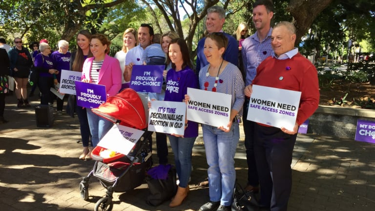 Labor MPs supporting abortion reform: Mark Bailey (second from right), Di Farmer (third from right), Stirling Hinchliffe (fourth from right), Yvette D'Ath (fifth from right), Shannon Fentiman (sixth from right) and Jackie Trad (second from left).