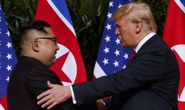 North Korean leader Kim Jong-un and US President Donald Trump in Singapore.