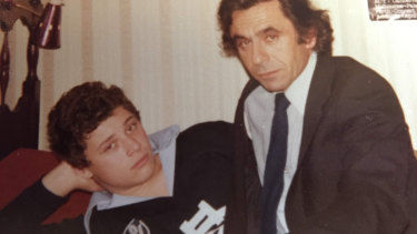 A younger Elliot Perlman with his father, Harry.