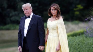 US President Donald Trump and first lady Melania Trump leave Winfield House, residence of the US ambassador, to go to nearby Blenheim Palace.