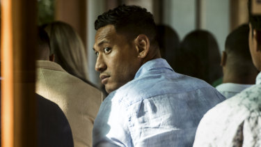 Israel Folau, attending church on Sunday, is yet to contact Rugby Australia about his next course of action.