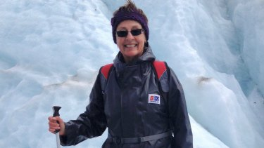 Marena Manzoufas glacier tramping in New Zealand.