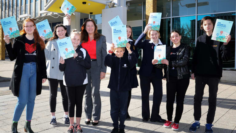 ACT Education Minister Yvette Berry with students at the release of the new strategy on Thursday morning.