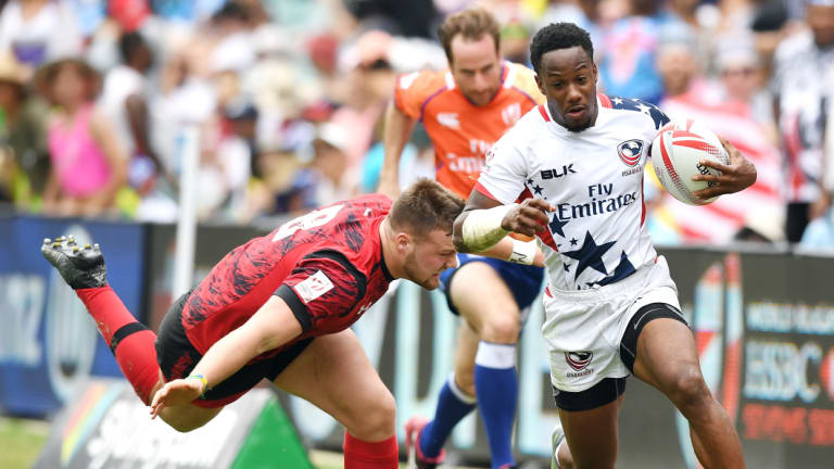 Speed to burn: The United States, including Carlin Isles, is proving an emerging force in world sevens.