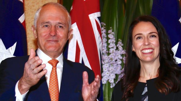Malcolm Turnbull greets Jacinda Ardern before their meeting in Sydney.