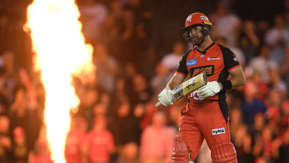 Dan Christian reacts after the Renegades won their BBL semi-final on Friday night.