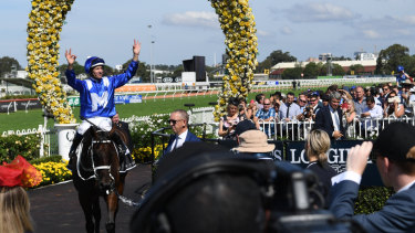 At home: Winx returns after winning the George Ryder Stakes at Rosehill last year.