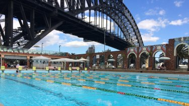 The art deco brick wall at the pool, built in 1936, features scallop shells and parrots moulded from stucco.