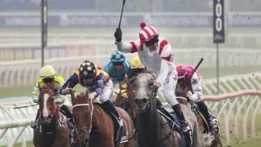 Kerrin McEvoy and Classique Legend careers away to victory in The Everest last year.
