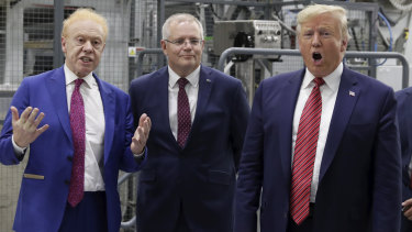 Businessman Anthony Pratt, Prime Minister Scott Morrison and US President Donald Trump during the official opening of Pratt's Wapakoneta recycling and paper plant.