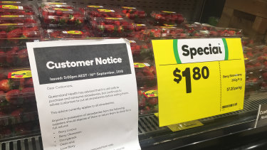 Strawberries for sale at Woolworths.