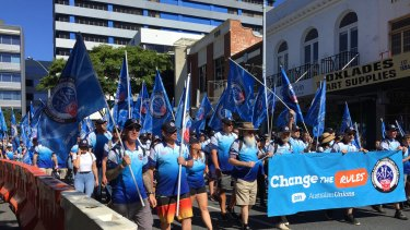 Last year's Labour Day march attracted thousands to Brisbane city streets.