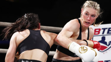 Packing some punch: Tayla Harris lands one on her opponent.