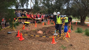 Boneo Primary students arrived at school to find a 'meteorite', and were set maths tasks based on it.