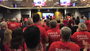 Red t-shirts filled a conference room at Carina Leagues club for Pat Condren's campaign launch for Brisbane City Council lord mayor.
