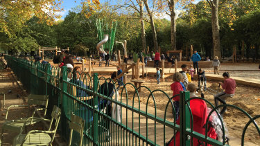 Children enjoy the Luxembourg playground on their school holiday.