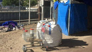Up to 50 rough sleepers can be found at 'tent city' at the Lord Street Bridge in East Perth.