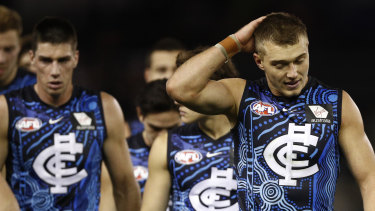 The Blues leave the field after their most recent loss, to St Kilda.