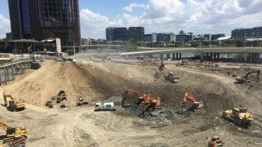 The excavation hole for Brisbane's new Queen's Wharf casino and hotel complex was 16 metres below George Street in 2017.