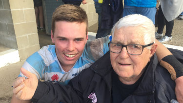 Will Harrison with his grandfather Barry 'Bolla' Telford.