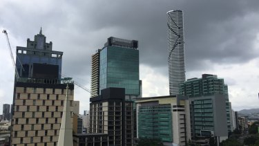 More Brisbane storms brewing above the CBD on Thursday morning after overnight rain.