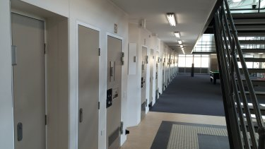 The corridors at Hopkins, where many high-risk prisoners are kept.