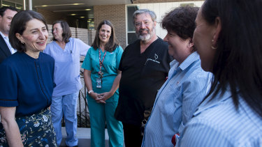 Premier Gladys Berejiklian on the campaign trail at Nepean Hospital on Sunday.