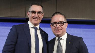 Virgin's Paul Scurrah (left) and Qantas' Alan Joyce. Both are cutting capacity.
