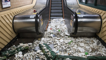 Debris lies at the bottom of an escalator in Hong Kong, China.