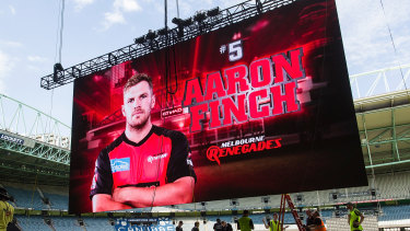 Larger than life: Renegades captain goes up in lights on the JumboTron screen.