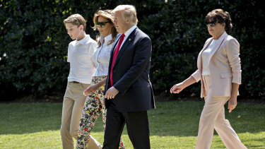 Donald Trump, First Lady Melania Trump, son Barron Trump and Amalia Knavs, mother of Melania Trump on the way to New Jersey for the weekend.