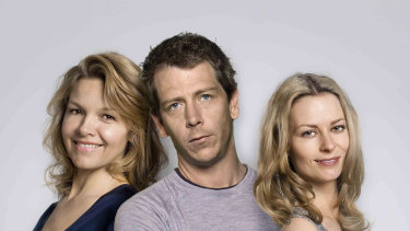 Justine Clarke, Ben Mendelsohn and Kat Stewart in Tangle.