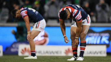 Has anyone seen our form? Dejected Roosters players after losing to Canberra.
