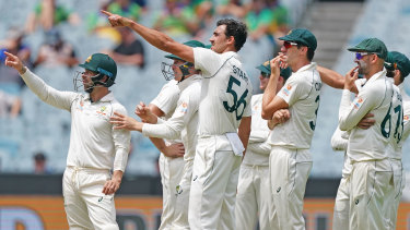 The Australians led by Mitchell Starc watch a replay after Mitchell Santner was given not out by the third umpire.