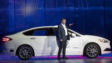 Amnon Shashua, co-founder and chief technology officer of Mobileye, speaks during a keynote address at the 2018 Consumer Electronics Show in Las Vegas.